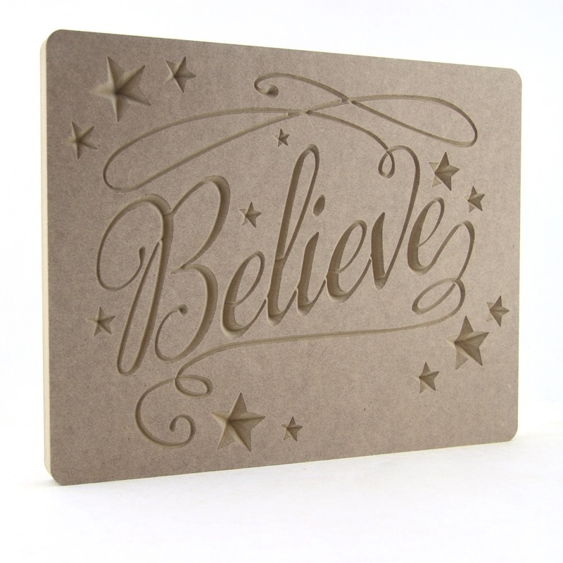 Fancy Font Believe Plaque with Stars