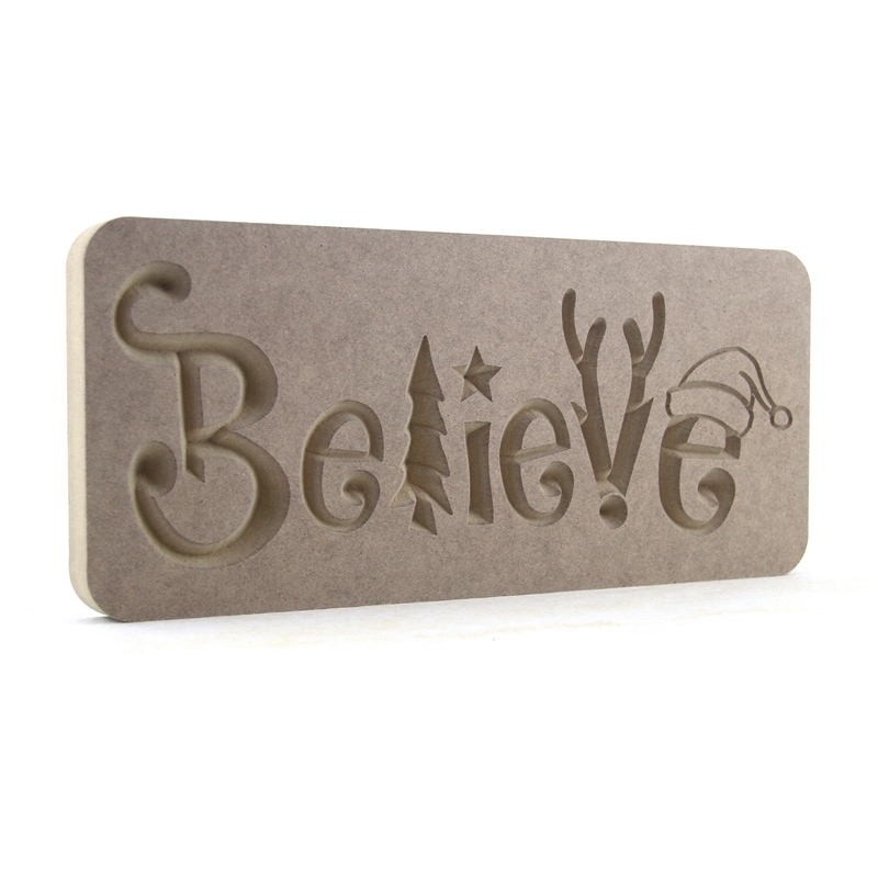 Christmas Themed Believe Plaque SUPER SIZED