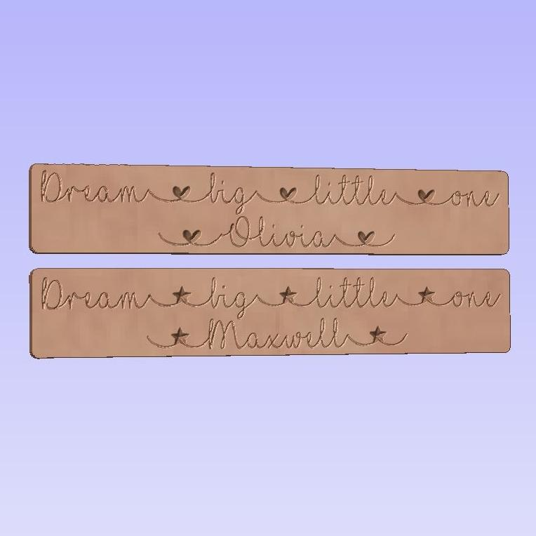 Dream Big Little One Personalised with a name. Word Block
