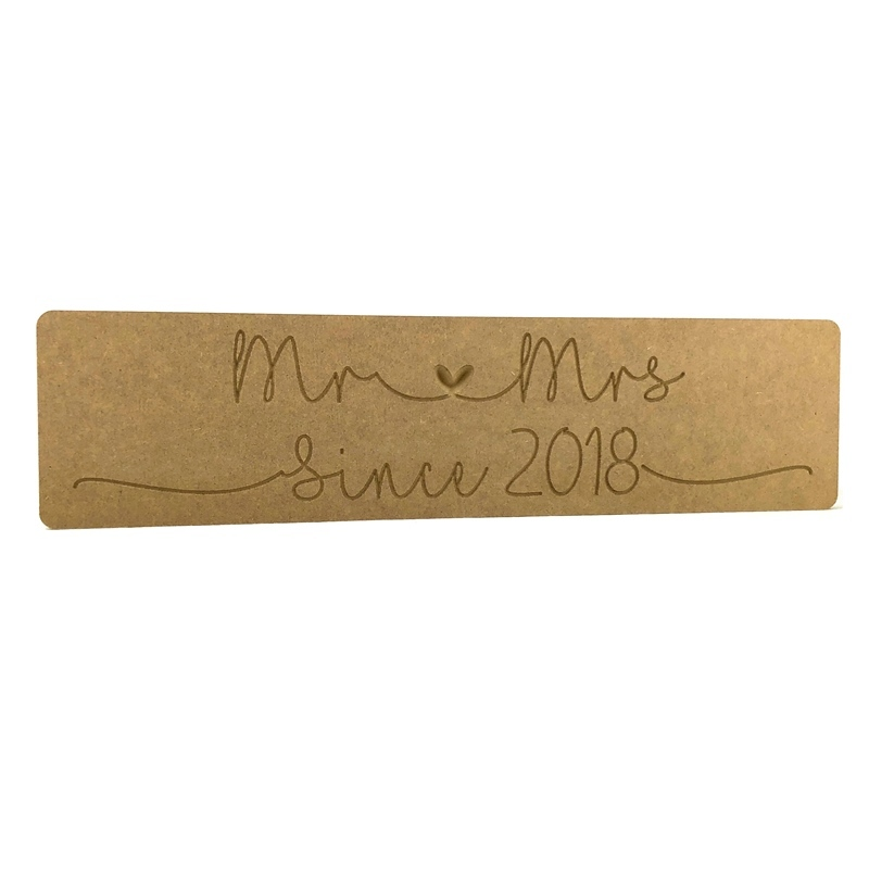 'Mr Heart Mrs Since (enter year)' Engraved Word Block