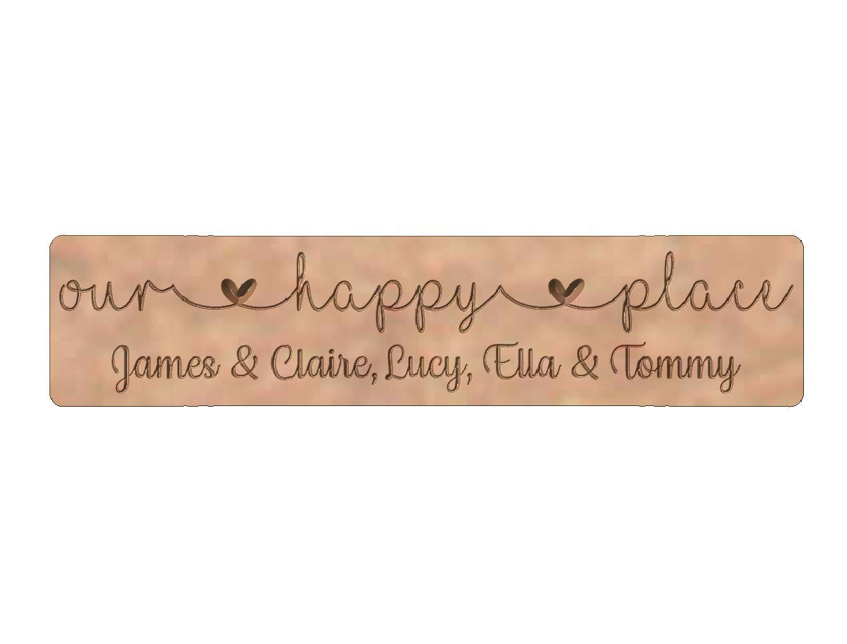 'our happy place'  Word Block with Names