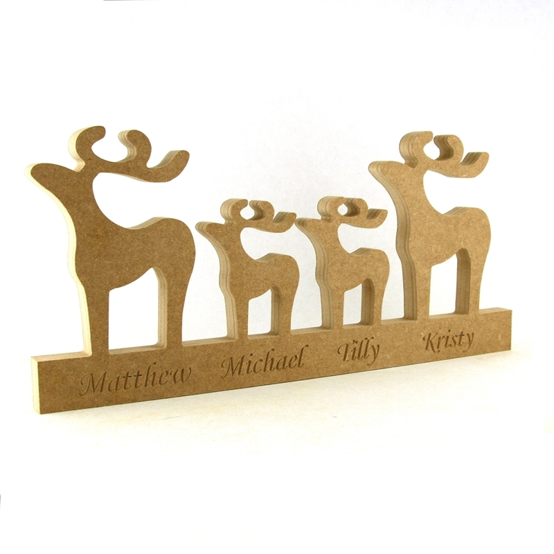 Engraved Reindeer Family  on a Plinth xx long