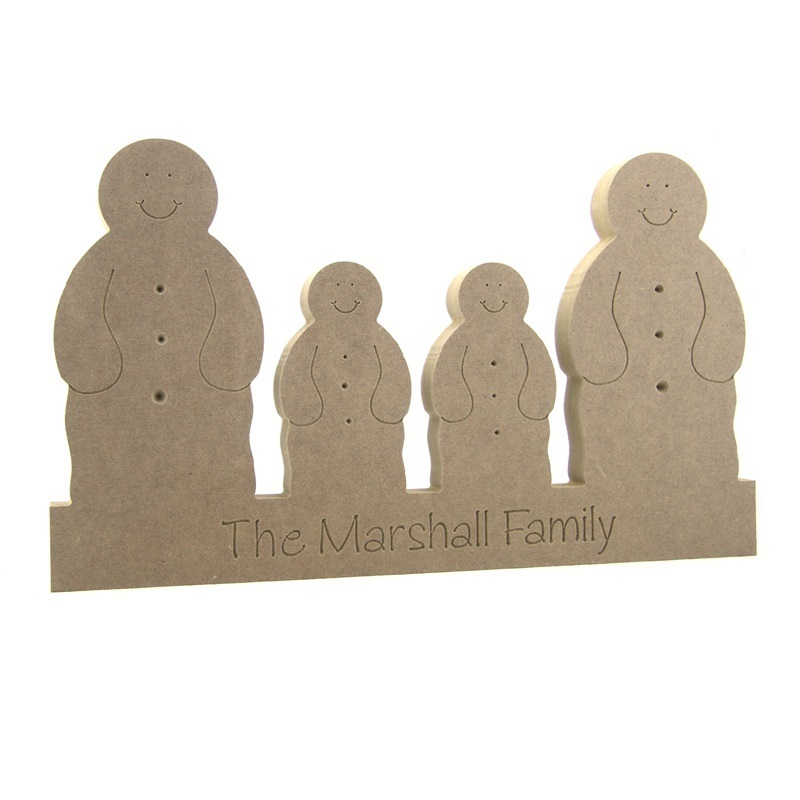 Engraved Snowman Family  on a Plinth