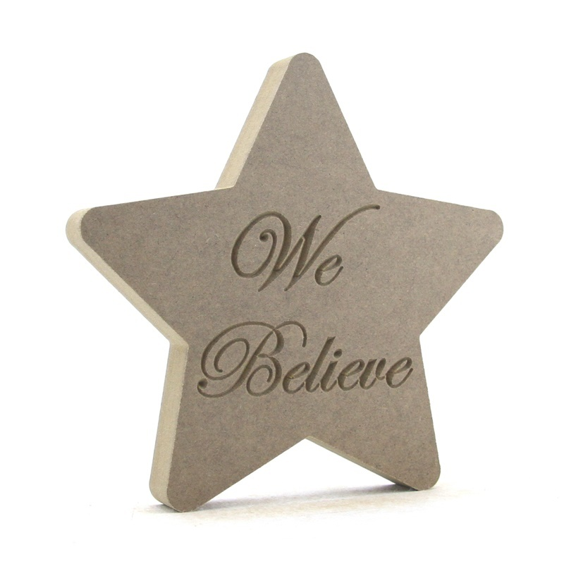 Christmas Star Shape engraved with 'We Believe'
