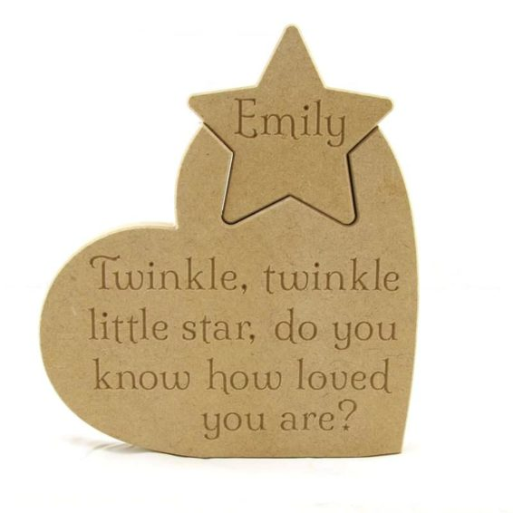 Heart 'Twinkle, twinkle little star..' Personalised Star.