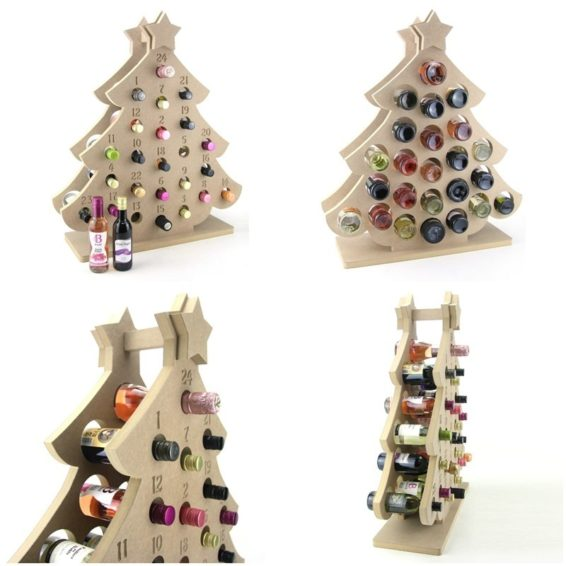 Christmas Tree Shaped Miniature Wine Bottle Advent Calendar
