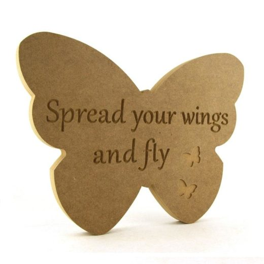 Butterfly engraved 'Spread your wings and fly'