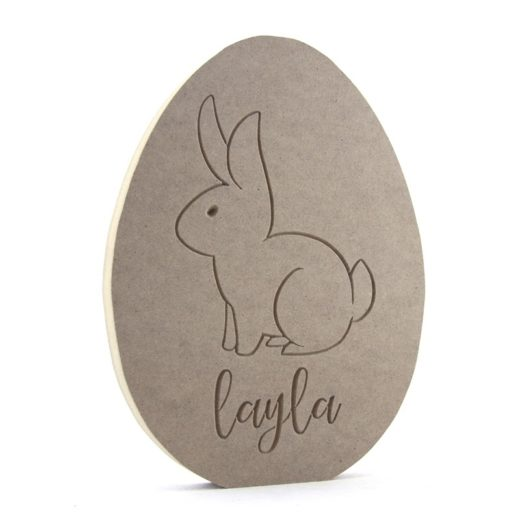 Egg Shape With Engraved Bunny,  Personalised