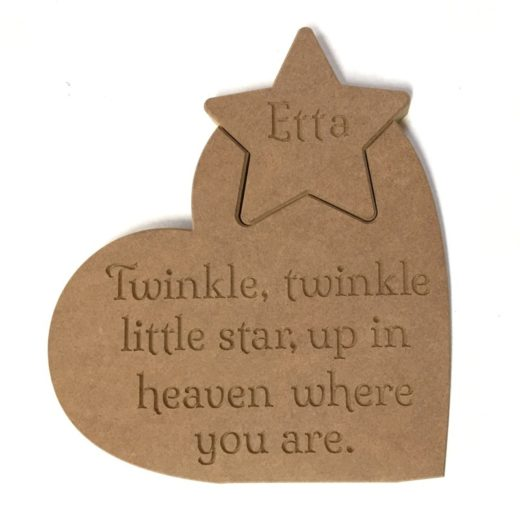 Heart 'Twinkle, twinkle little star..' memorial version Personalised Star.