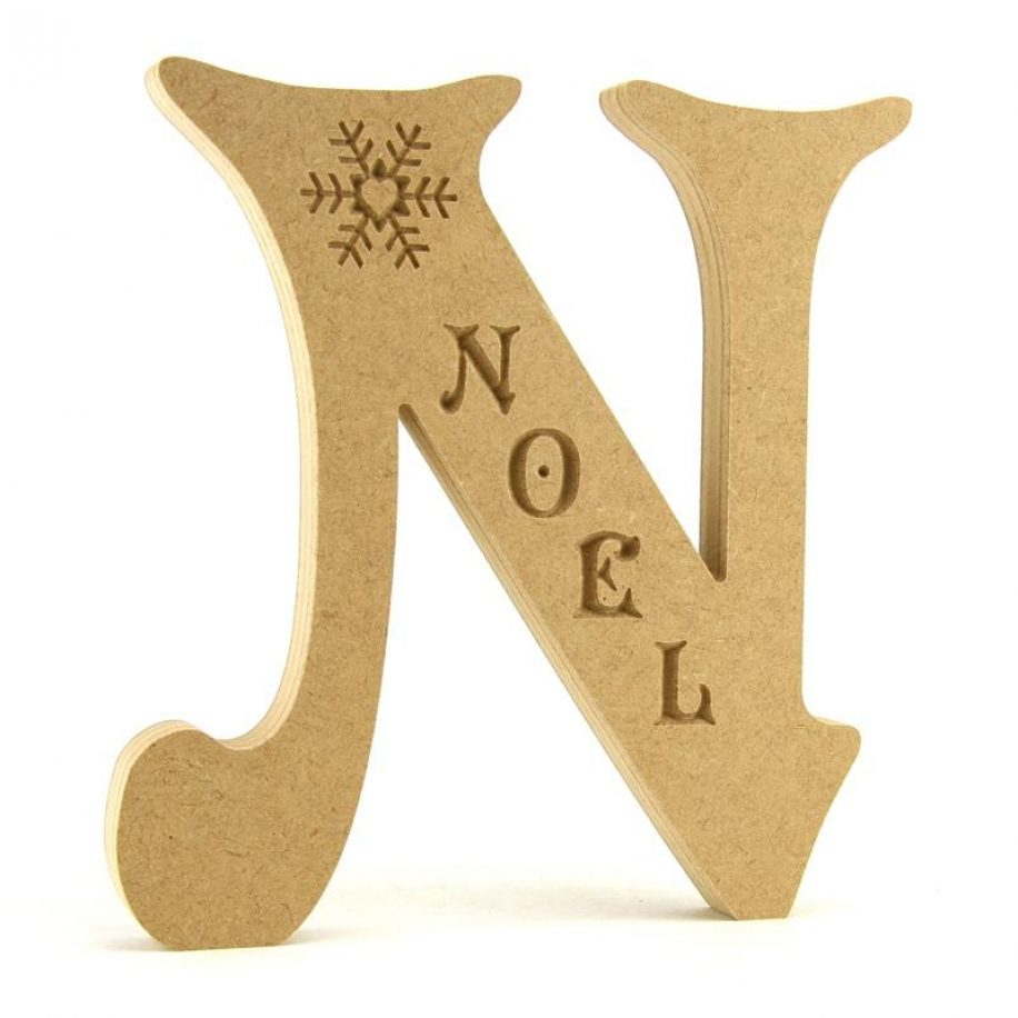 Letter 'N' engraved with 'Noel' and Snowflake
