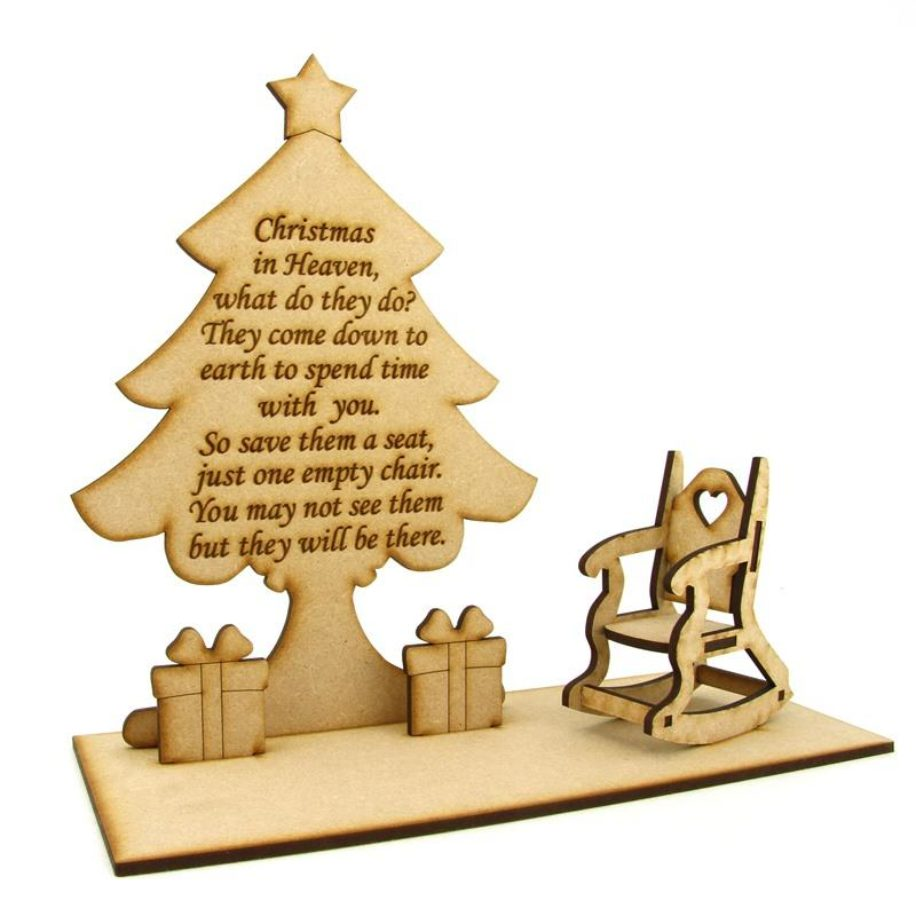 'Christmas in Heaven' Quote on a Christmas tree with rocking chair  & gifts on a base.