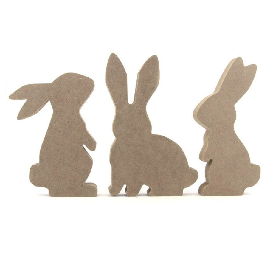 Set of 3 Rabbit / Bunny Shapes