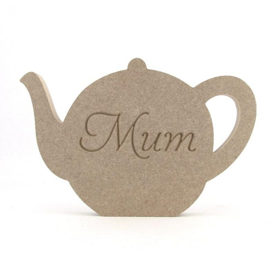Teapot, engraved Mum, Nan, etc