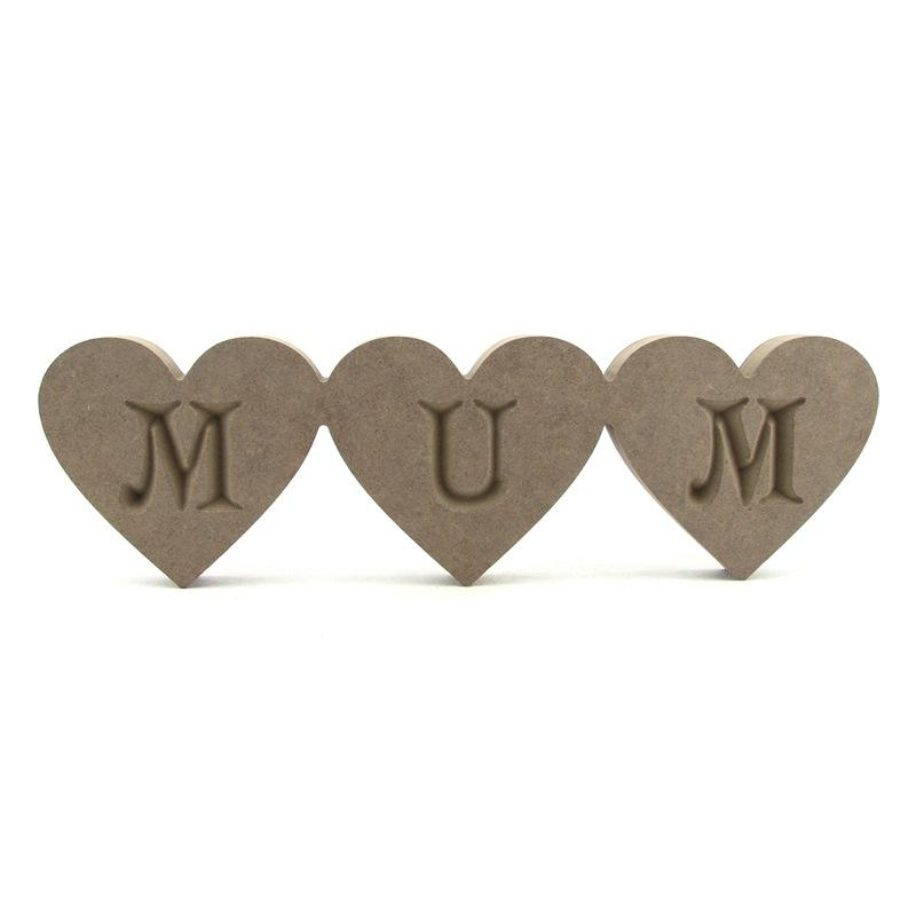 Hearts Engraved 'MUM', 'NAN', etc