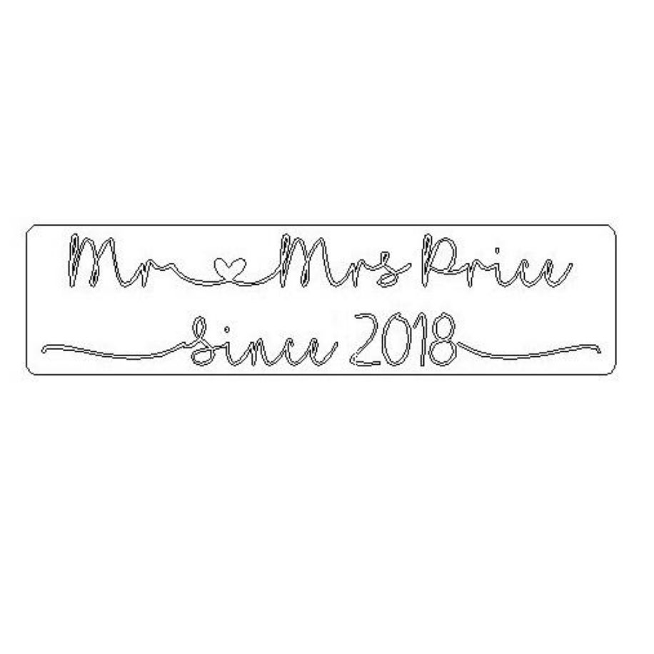 'Mr Heart Mrs (enter name) Since (enter year)' Engraved Word Block