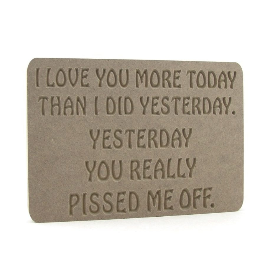 Plaque 'I love you more today....'. *rude*