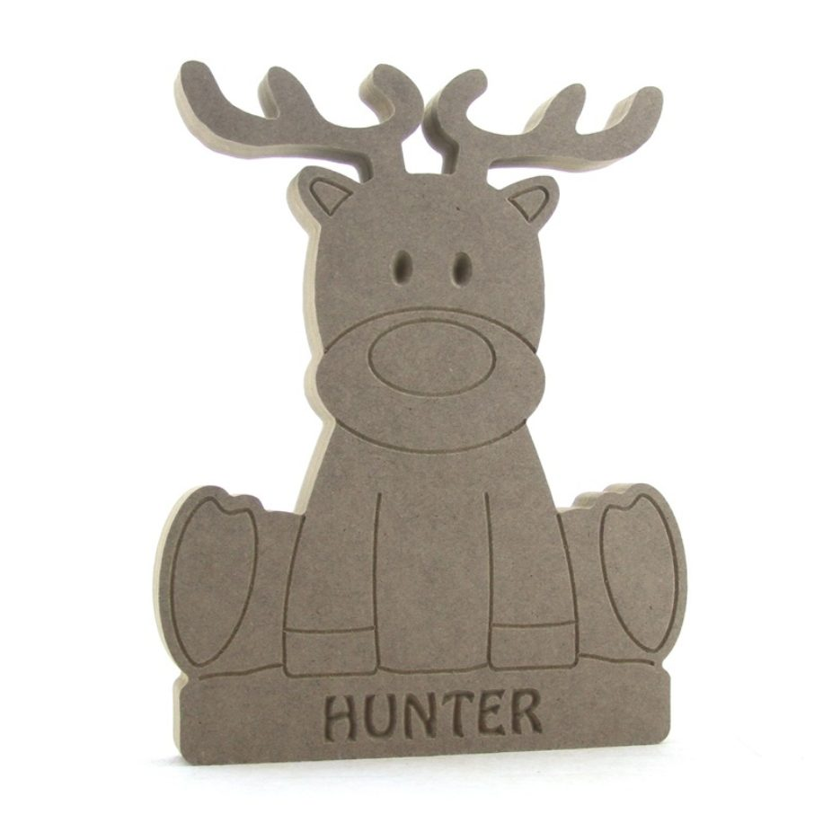 Sitting Reindeer on a Plinth (Available Personalised)