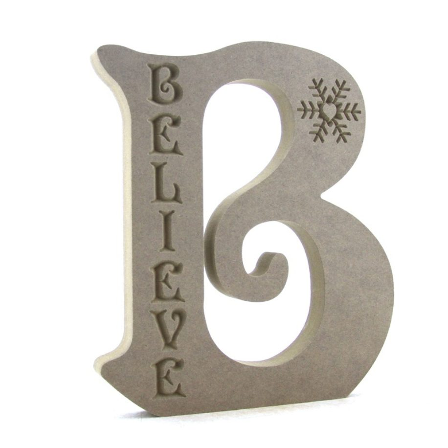 Letter 'B' engraved with 'Believe' and Snowflake