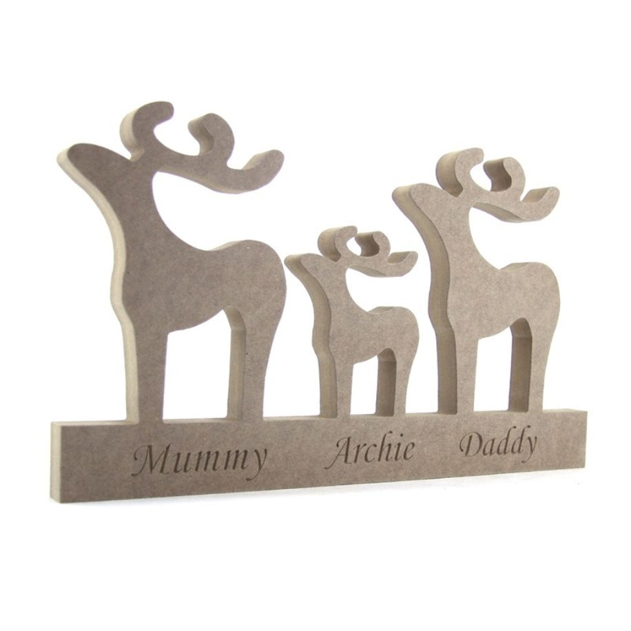Engraved Reindeer Family  on a Plinth