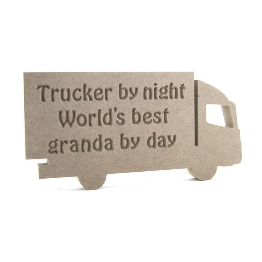 Lorry engraved 'Trucker by night World's best ...... by day'***NEW***