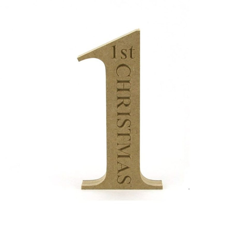 number 1 engraved with 1st christmas tnr font makers shed