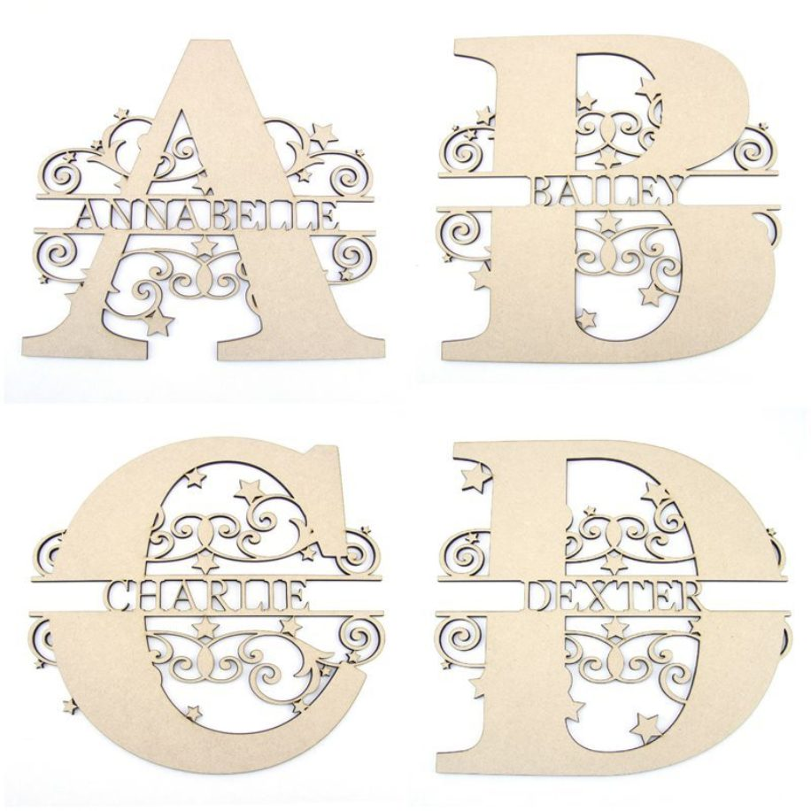 Monogram Name Letters with Stars and Swirls
