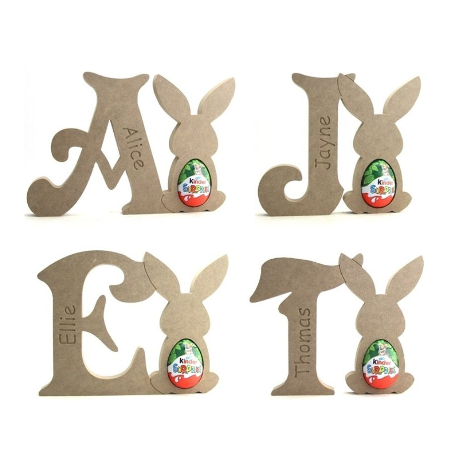 Victorian Font Bunny Rabbit Letter Egg Holders