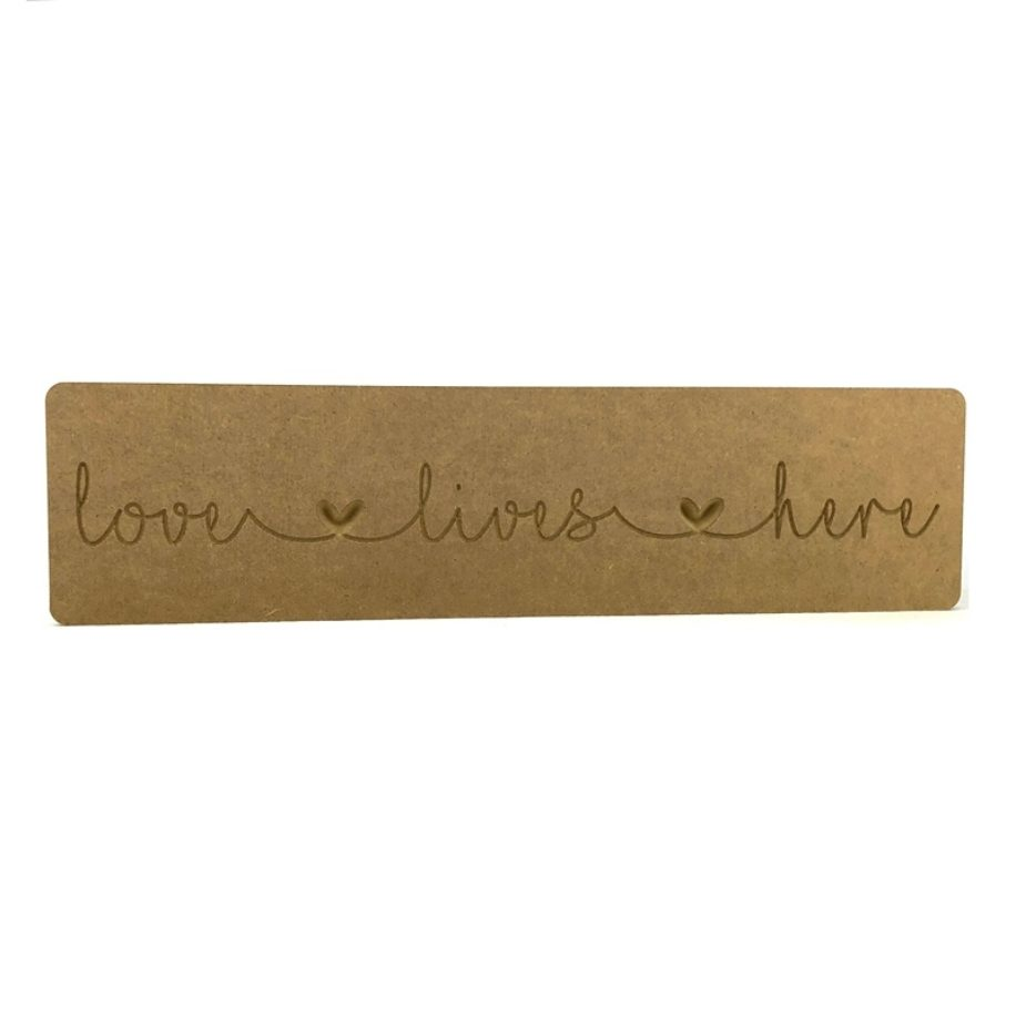 'love lives here' Engraved Word Block