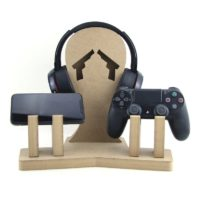 Double Game Controller & Headset Stand PLAIN