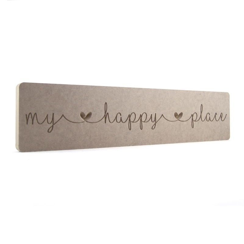 'my happy place' Engraved Word Block