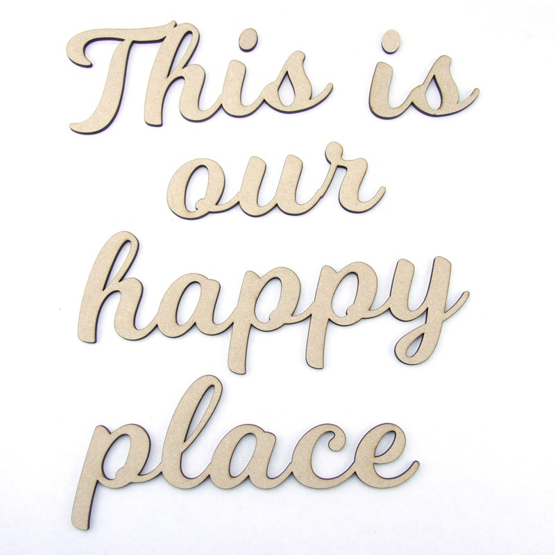 'our happy place' Engraved Word Block